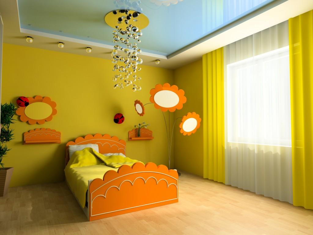 Глянцевые натяжные потолки в детскую