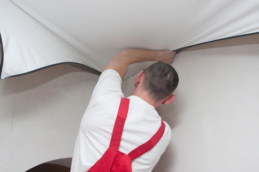 Монтаж натяжного потолка без нагрева своими руками 24