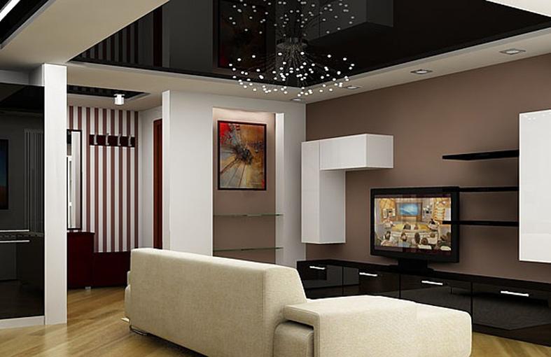 Дизайн комнаты с черным натяжным потолком фото