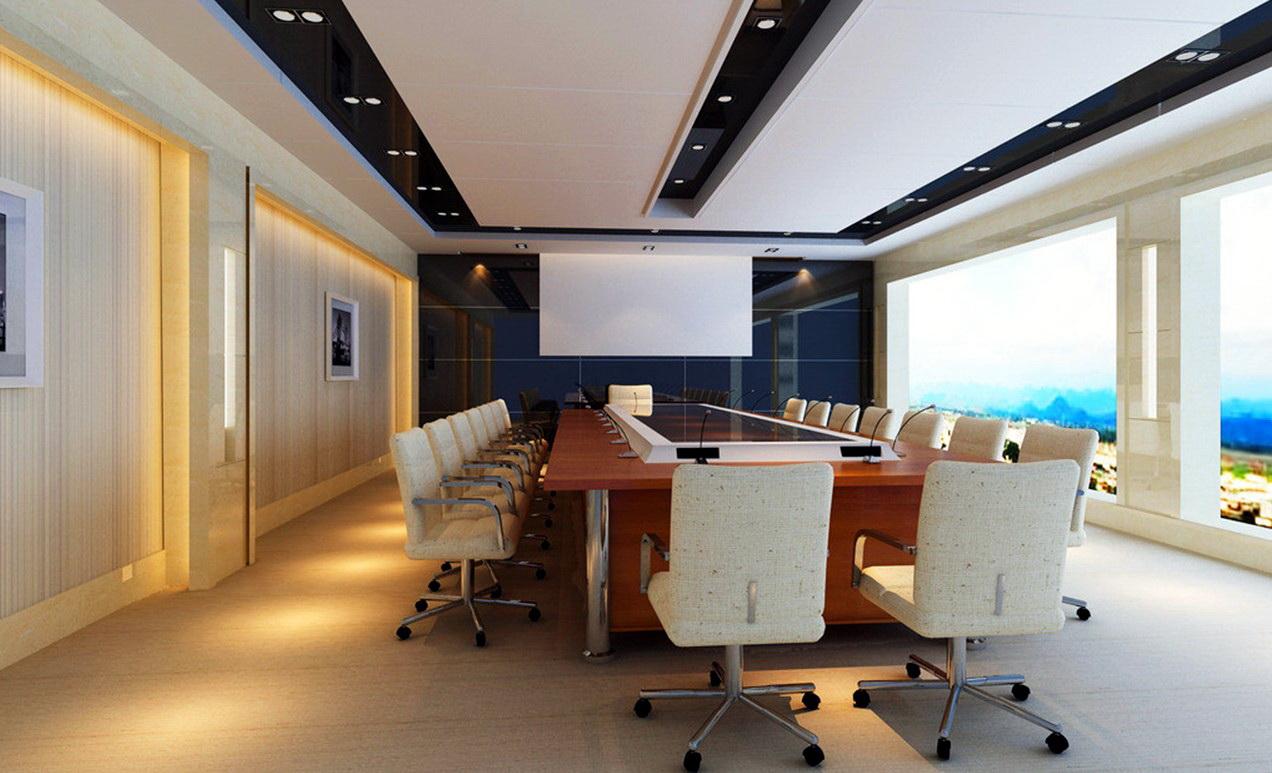 Конференц-зал с черным натяжным потолком