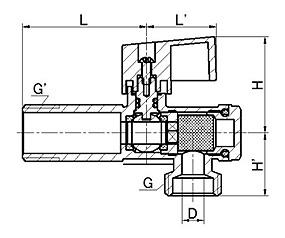 Кран угловой (с фильтром) с дек.чашкой (хром) для подключения бытовых приборов, ANGLE VALVE(U)