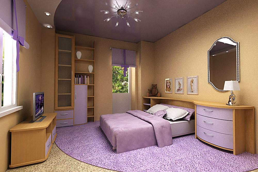 Красивый натяжной потолок в спальню
