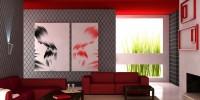 Красный натяжной потолок в гостиной и других комнатах