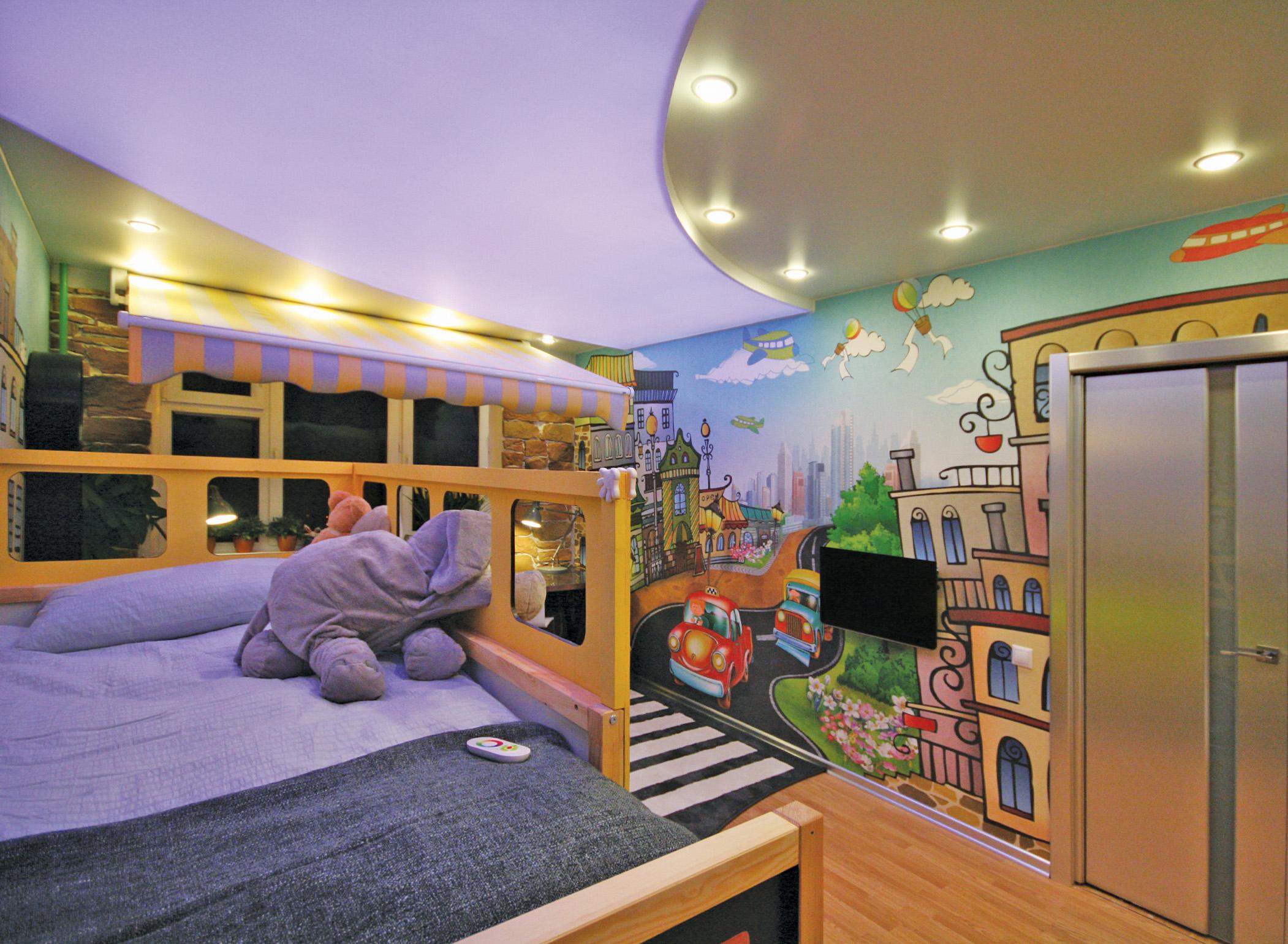 Многоуровневые натяжные потолки в детскую