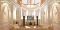 Натяжные потолки для классической гостиной в Екатеринбурге