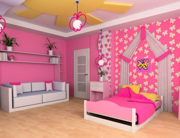 Натяжные потолки в детскую для девочки в Екатеринбурге