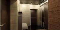 Темный глянцевый натяжной потолок в дизайне коридора