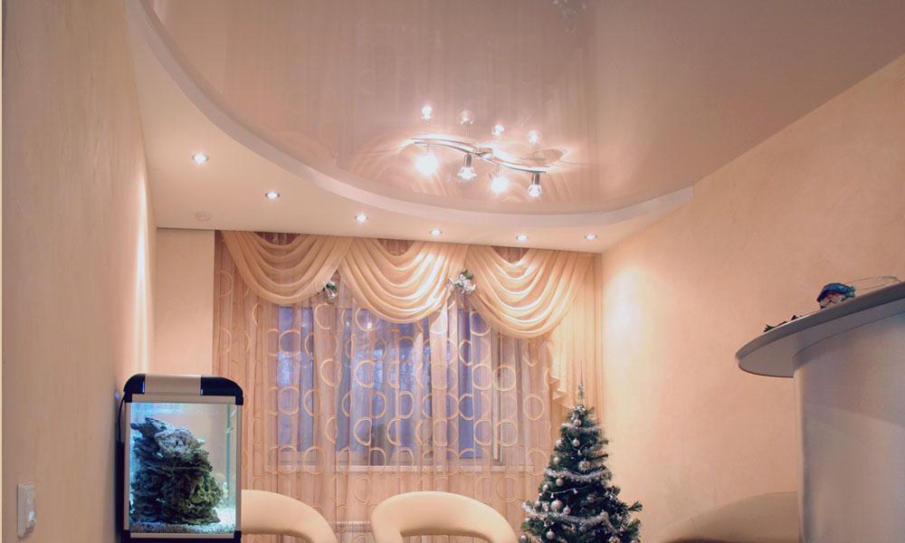 красивые двухуровневые натяжные потолки