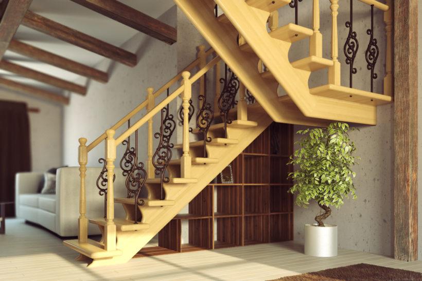 лестница из дерева на второй этаж