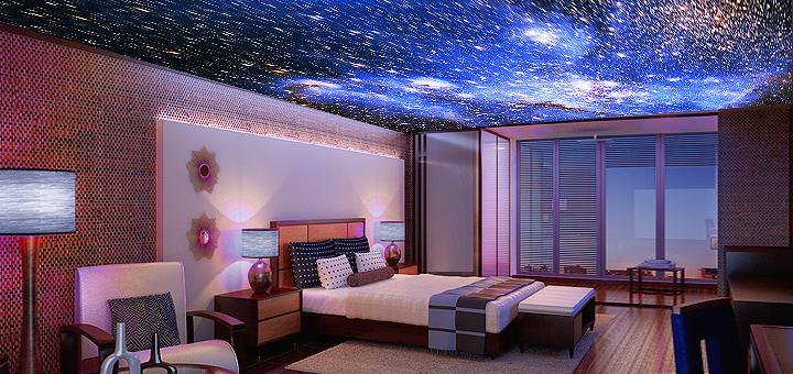 натяжной потолок - небо с облаками и звездами