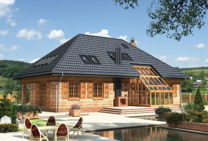 построить четырехскатную (вальмовую) крышу